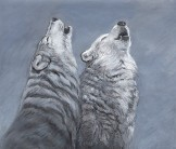2_wolves_howling_mixed_media