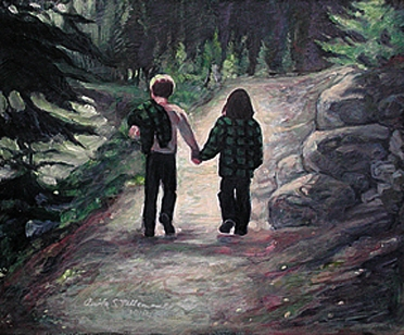 two children hiking in the Rockies / acrylic on board 8X10